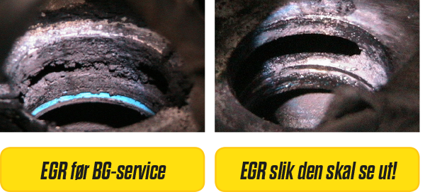 EGR fullt med avleiringer og rent etter BG-Service