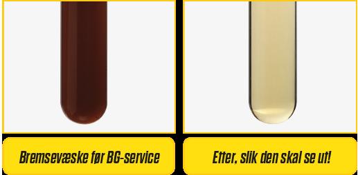 Bremsevæske før BG-service og etter
